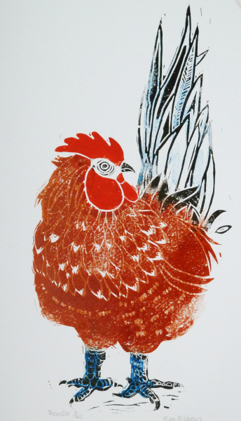 Sue Ribbans: Rooster Linocut
