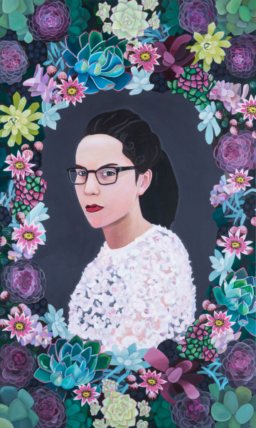 Pie Factory Margate Nicola Lebon Young lady, 2013, acrylic on canvas, 91cm x 153cm