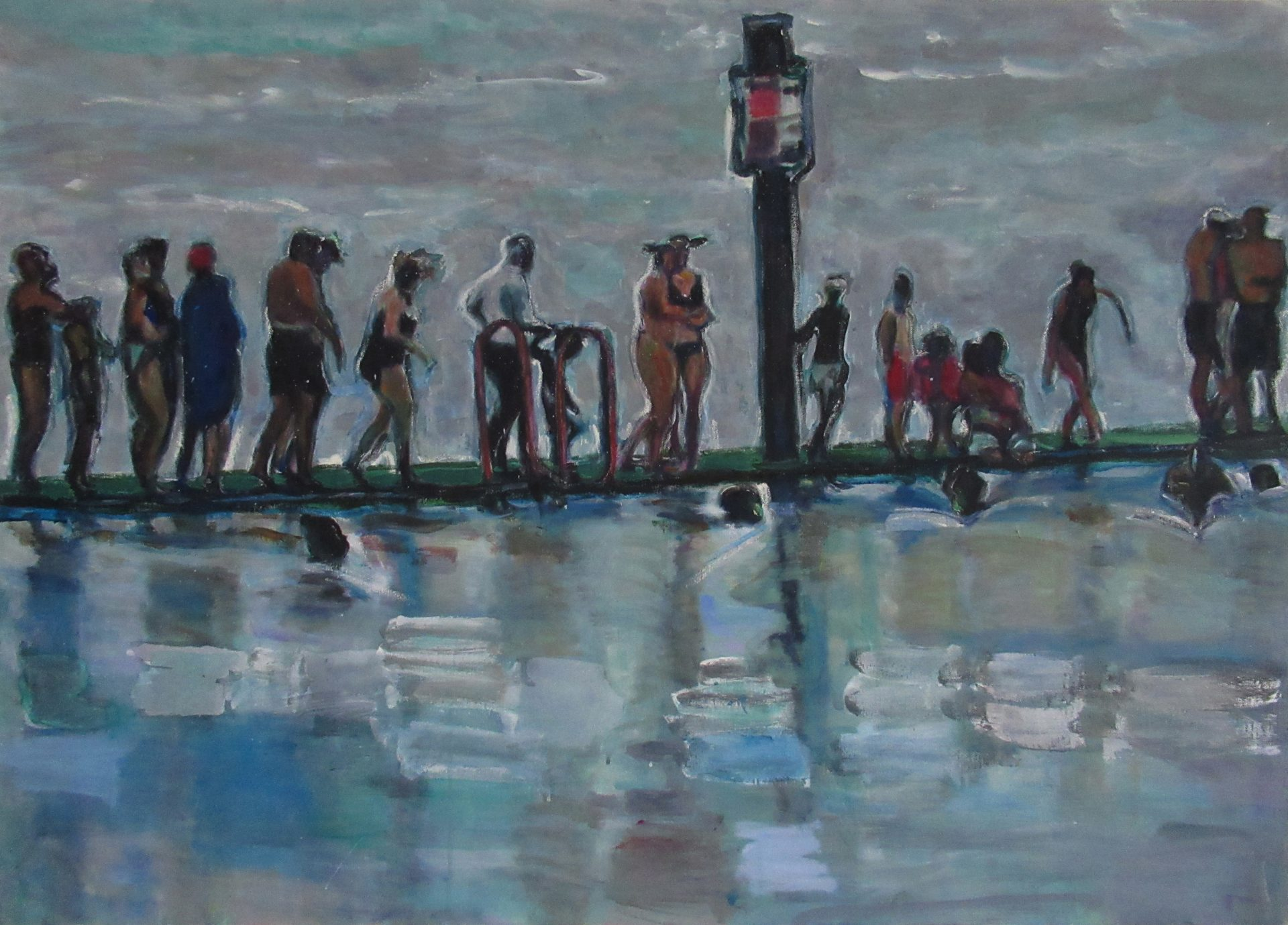 Lee Williams, New Year swimmers. Oil and Acrylic on canvas, at Pie Factory Margate