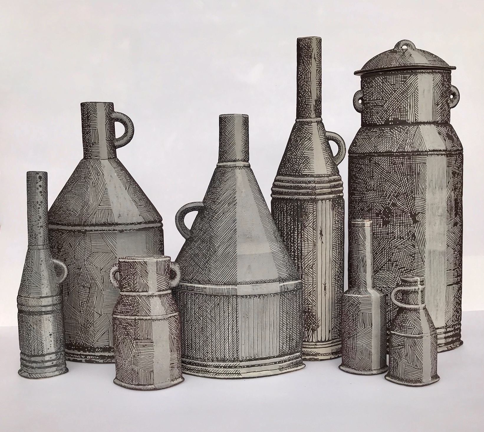 Maggie Williams, Drawn Vessels in Stoneware Clay 2019, White Slip with sgraffitto, Fired to 1240C Largest vessel with Lid - Hight 42cm x Width16cm x Depth 10cm