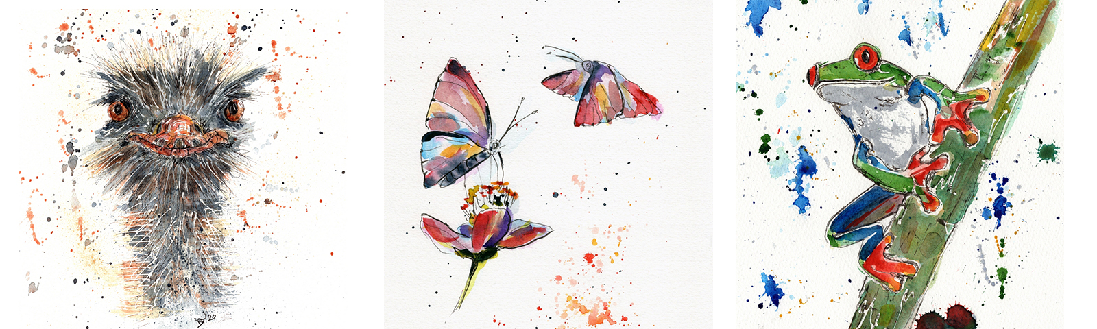 2021 Wildlife - composite of three wildlife works, Ink and watercolour on paper, D Tovey 2021 at Pie Factory Margate