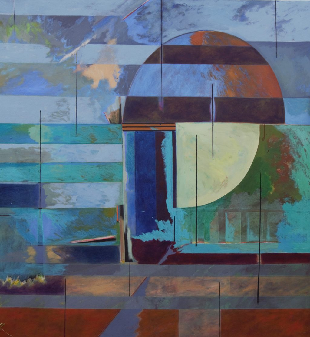 Peter Rhodes, Trajectory, 2010, 149cm x 163 cm, Acrylic on canvas at Pie Factory Margate