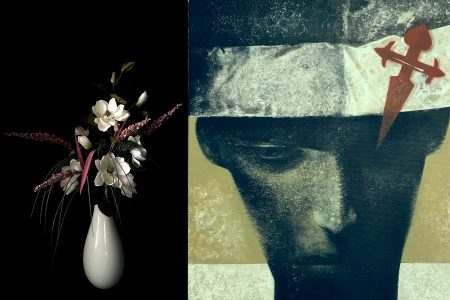 Magnolia in a white vase, Dawn Cole and Pilgrim, Graham Ward at Pie Factory Gallery