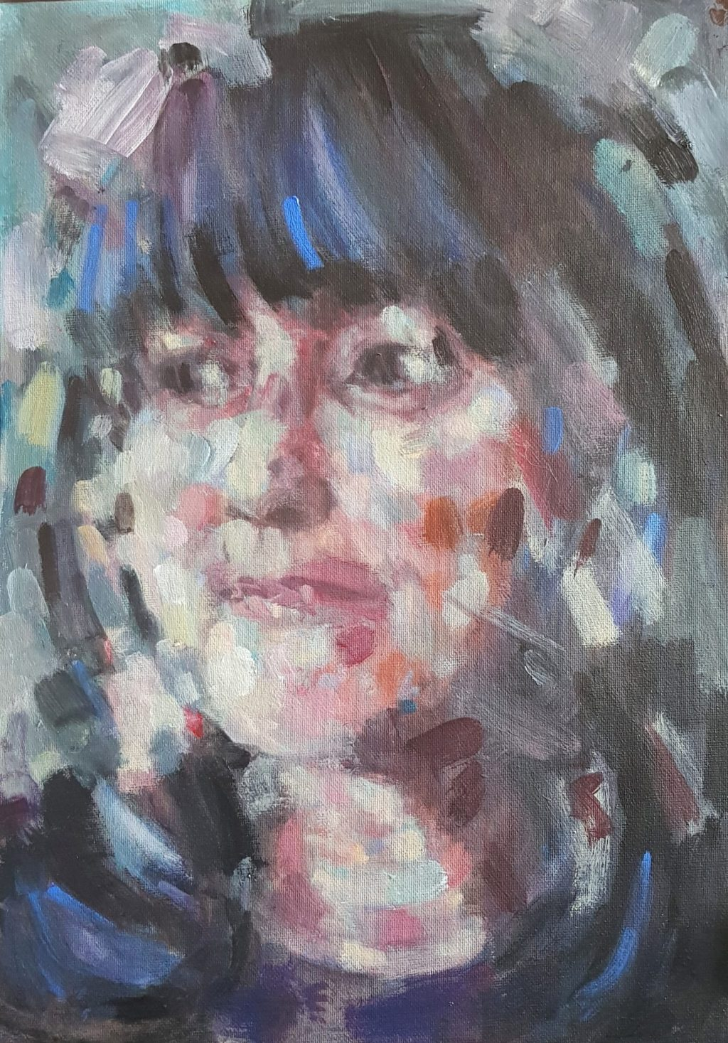 Richard-Dwyer-Woman-and-dog-Acrylic-on-Canvas, at Pie Factory Margate